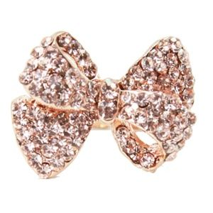 Rose Gold Pave Bow Ring
